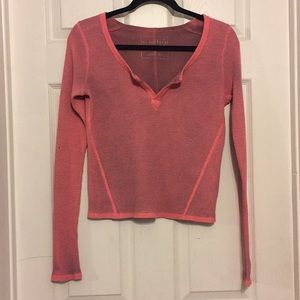 pink cropped free people thermal